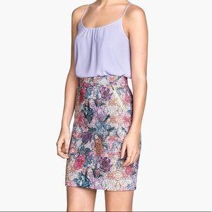 Floral filigree pencil skirt